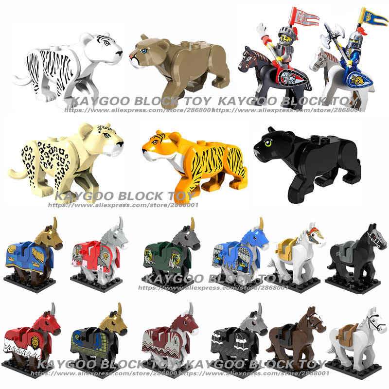 Wholesale 6cm knight Horse Block Single Sale Nazgul Horse Elepant Mammoth Wolf Animal Building Blocks Kids Toys Gift