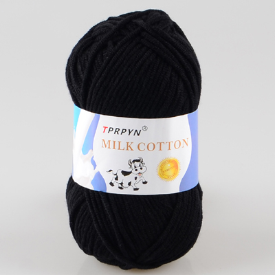 TPRPYN 1 шт. = 50 г пряжа для вязания крючком из молочного хлопка, мягкая теплая Детская Пряжа для ручного вязания - Цвет: 18 black