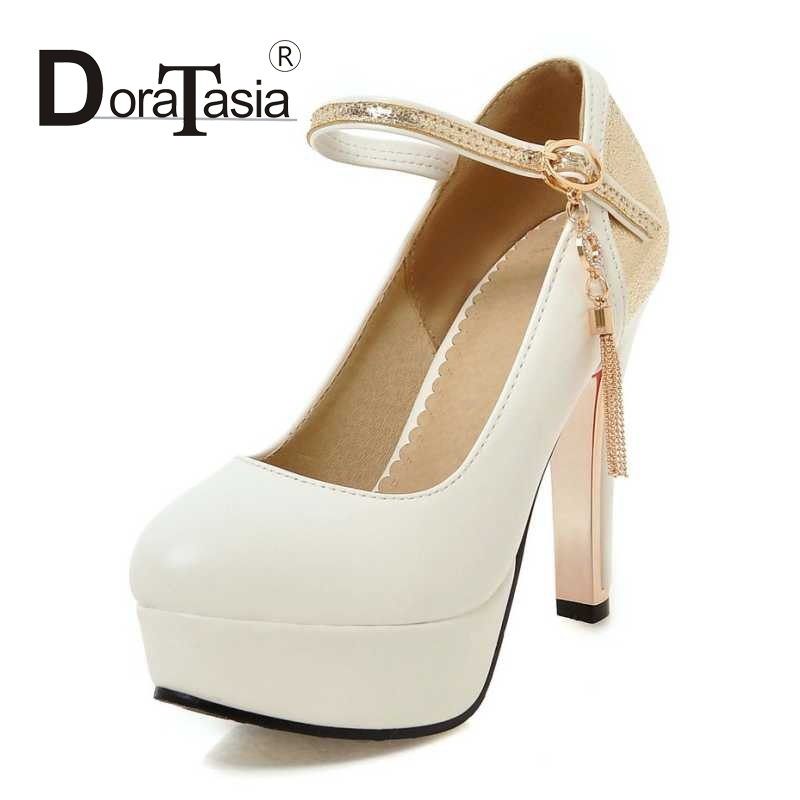 DoraTasia Size 34 39 Fashion font b Women b font Mary Jane Ankle Strap Pumps Sexy