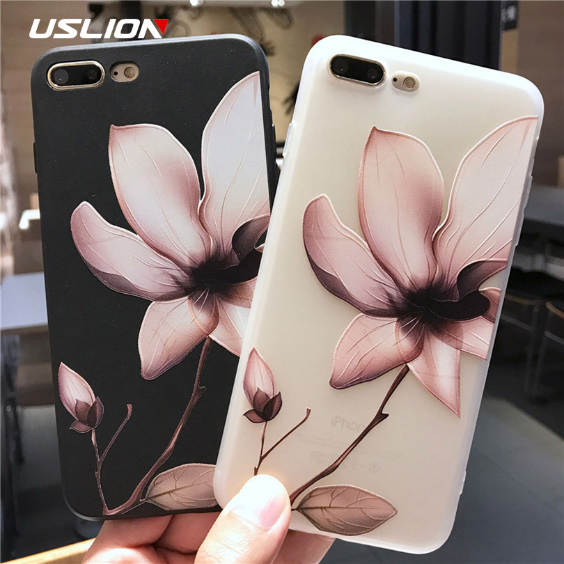 huge discount bcf3e d59bb US $1.39 20% OFF|USLION Lotus Flower Case For iPhone 8 Plus XS Max XR 3D  Relief Rose Floral Phone Case For iPhone X 7 6 6S Plus 5 SE TPU Cover-in ...