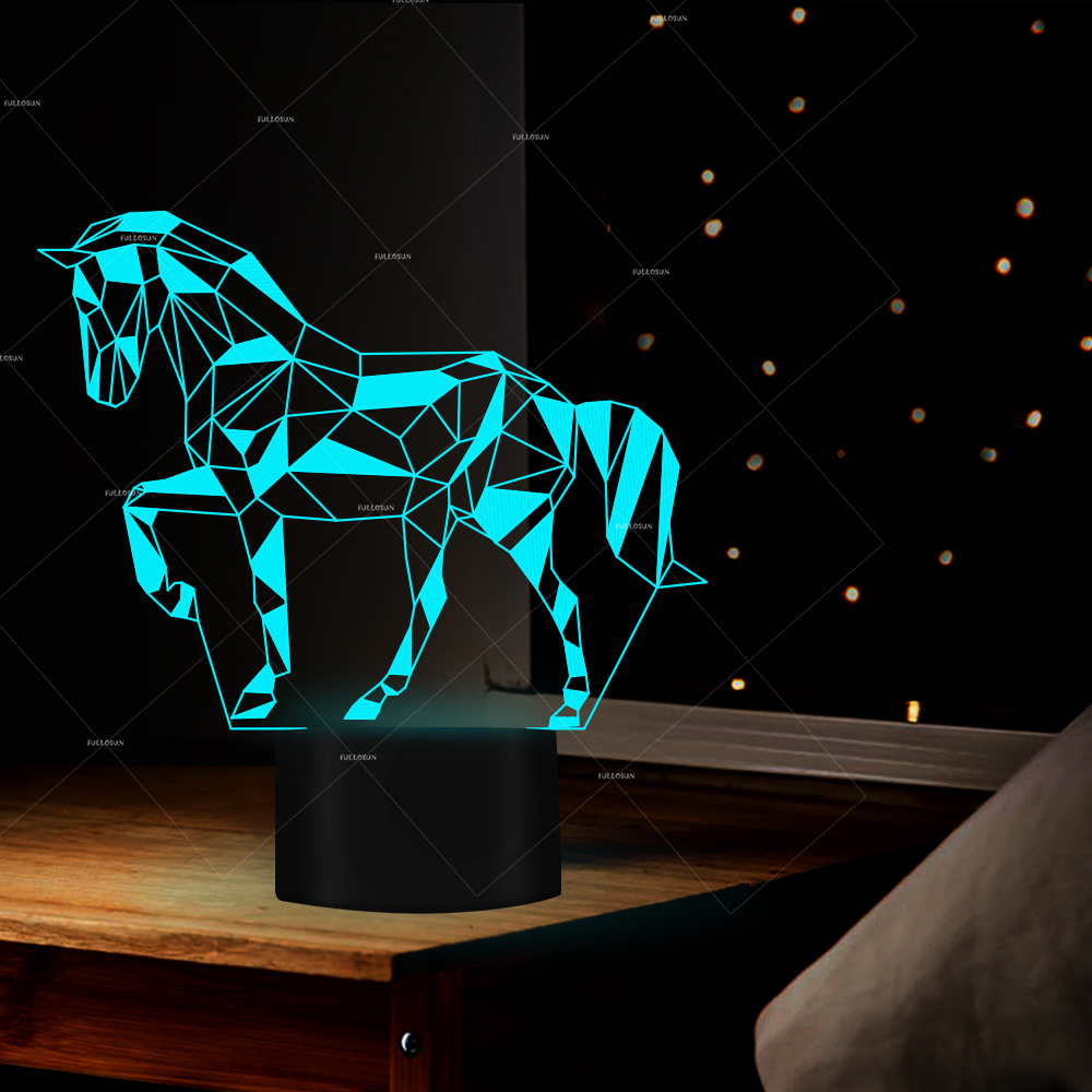7 Color Horse Lamp 3D Visual Led Night Lights for Kids Touch USB Table Lampara Horse Bedroom 3D Illusion LED Night Light