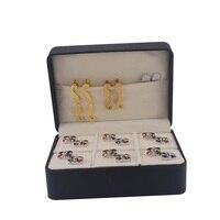 SAVOYSHI Luxury Jewelry Box Brand New Big Hộp Quà Tặng 6 cặp Lưu Trữ Cufflinks và Tie clips Set Gói 145*106*60 mét PU tráng