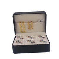 NVT Jewelry Box Brand New Big Gift Box 6 Pairs Holder Cufflinks Tie Clip Set Package