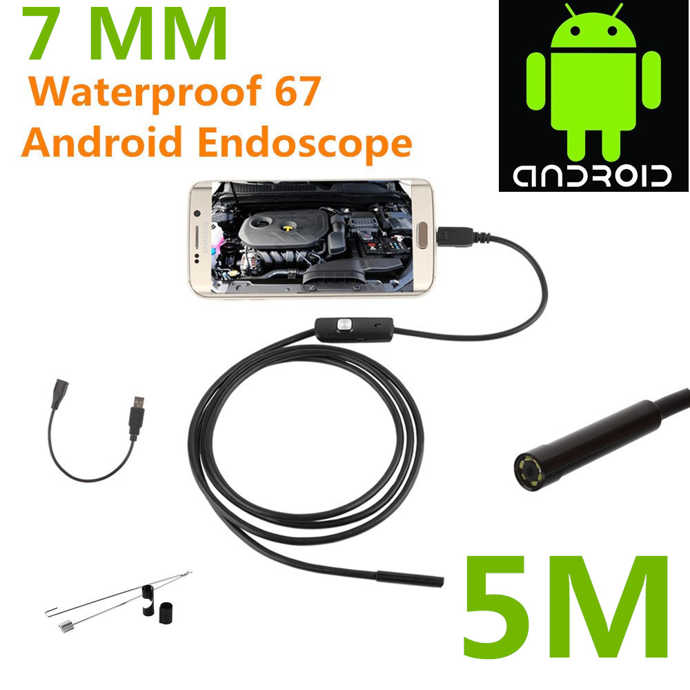 5M Length Endoscope Borescope USB Android Inspection Camera HD 6 LED 7mm Lens 720P Waterproof Car Endoscopio Tube mini Camera gakaki 7mm lens usb endoscope borescope android camera 2m waterproof inspection snake tube for android phone borescope camera
