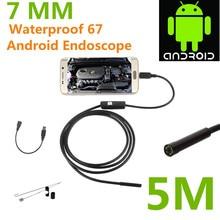 5M Length Endoscope Borescope USB Android Inspection Camera HD 6 LED 7mm Lens 720P Waterproof Car Endoscopio Tube mini Camera