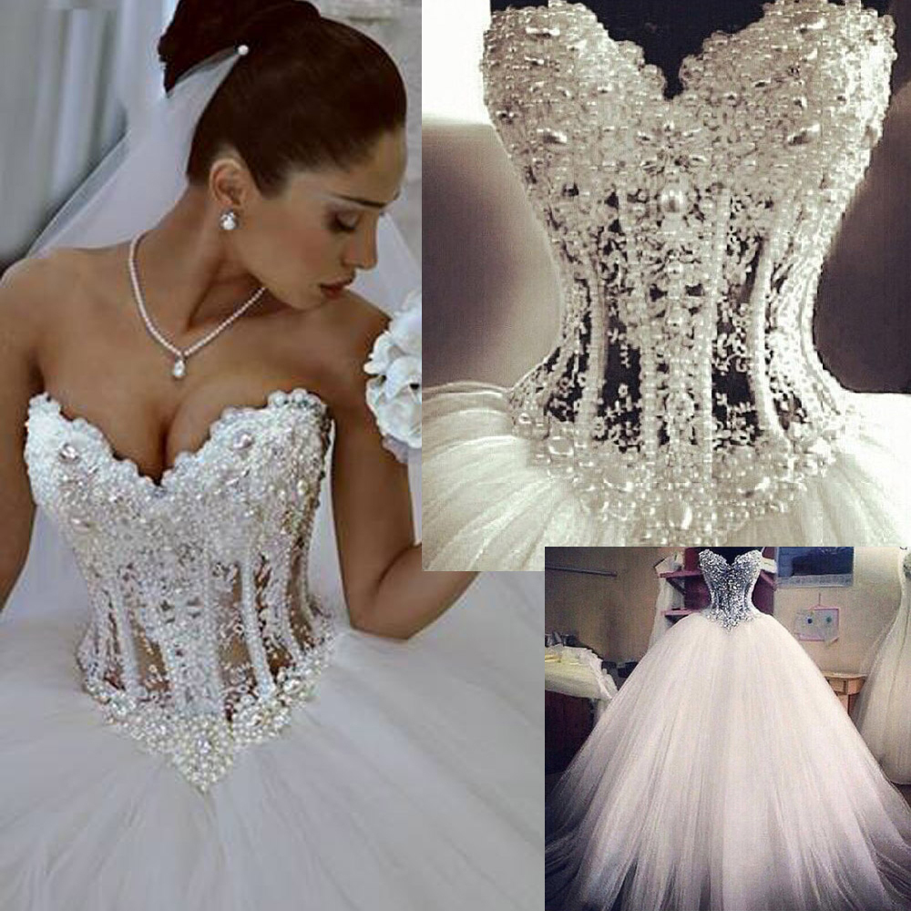 bf3f24f0b8e Vestidos De Noiva White Strapless Romantic Wedding Dresses Ball Gown Pearls Bridal  Gowns Lace Up Back Tulle China-in Wedding Dresses from Weddings   Events ...