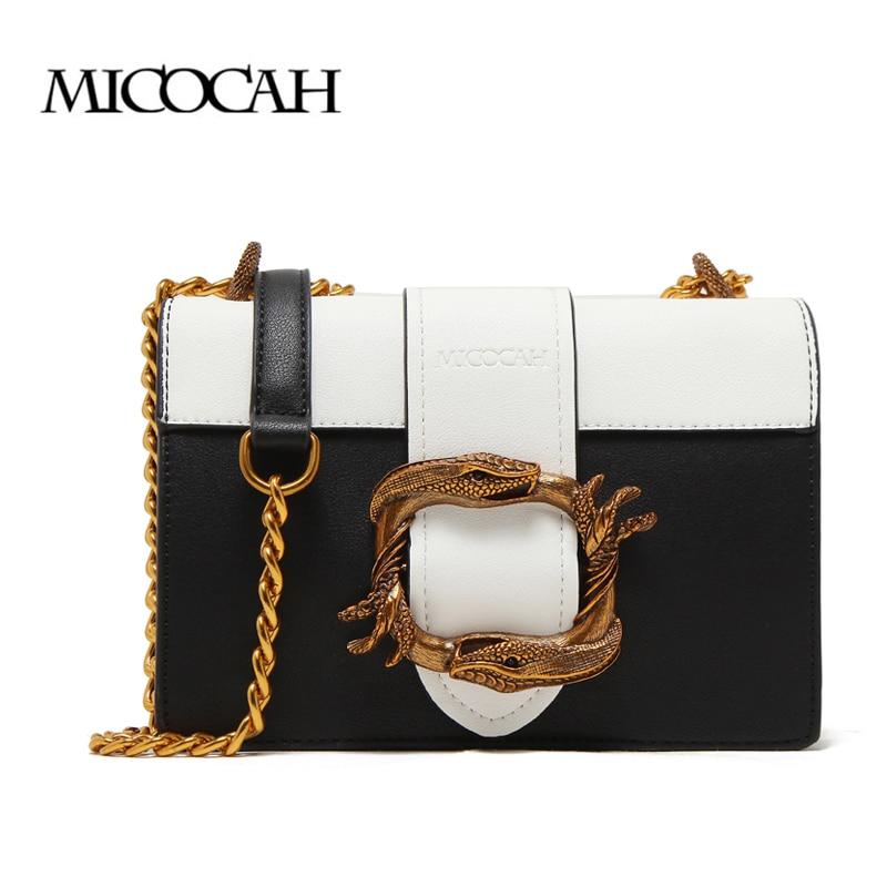 MICOCAH Snake Design Chain Bags For Women Zipper Pocket PU Leather Shoulder bag Female Cross Body Bags GH50011 star design body chain