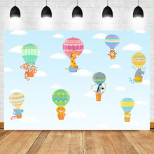 Neoback Cartoon Animals Hot Air Balloon Birthday Party Photo Background Photophone Blue Sky White Cloud Photography Backdrops