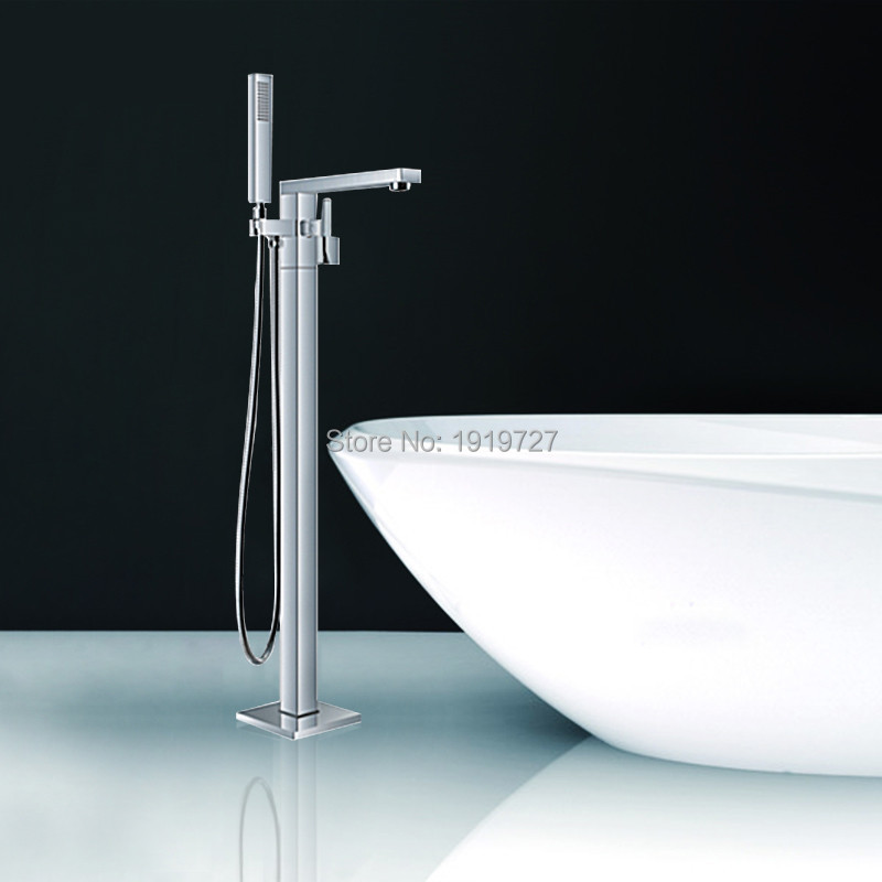 №Floor Standing Faucet Bathroom Square Floor Deck Mounted Bathtub ...