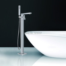 Floor Standing Faucet Bathroom Square Deck Mounted Bathtub Freestanding Bath