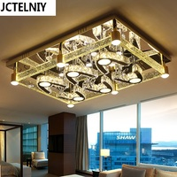 Led Living Room Lamp Modern Brief Personality Rectangle Ceiling Light Crystal Lamp Lamps