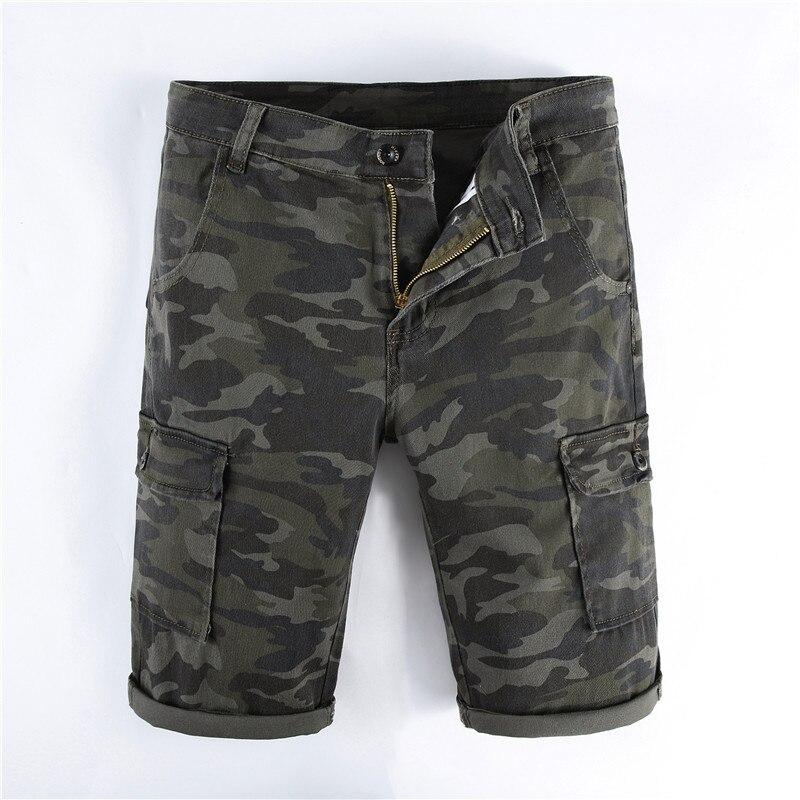 Summer Mens Retro Camoflage Cargo Denim Shorts Vintage Multi-Pockets Casual loose style Military Biker Short Jeans