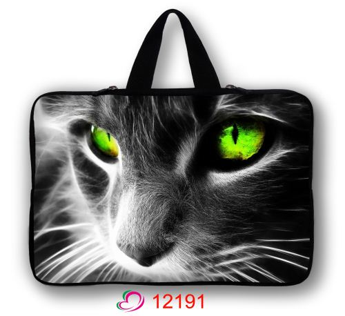 Green Cat Face PC Carry Sleeve Case Bag For 13