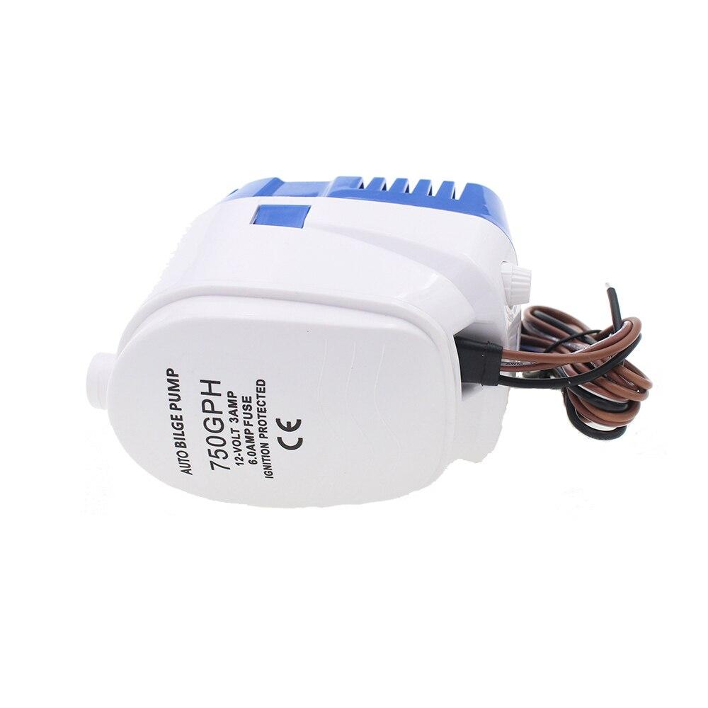 Semoic 12V Pompe de Cale Automatique de leau 750Gph pour la Pompe Automatique Submersible de Bateau avec Le Commutateur de Flotteur Marin//R/éservoir DAppat//Poisson