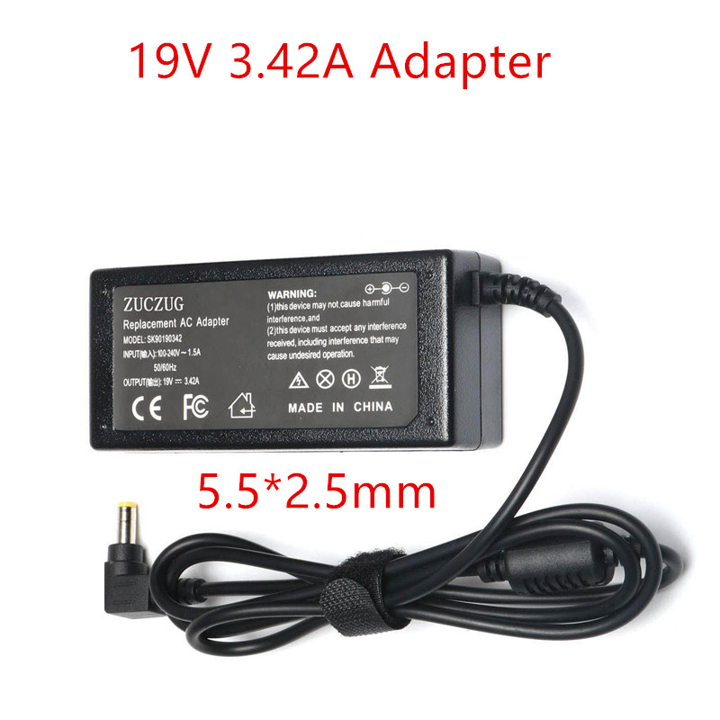 Laptop Power Supply EU Charger  19 V 3.42A 5.5X2.5mm Adapter Power Supply DC 19V  Charge Notebook 5.5*2.5 65W B450 B550 B560 Y5Laptop Power Supply EU Charger  19 V 3.42A 5.5X2.5mm Adapter Power Supply DC 19V  Charge Notebook 5.5*2.5 65W B450 B550 B560 Y5