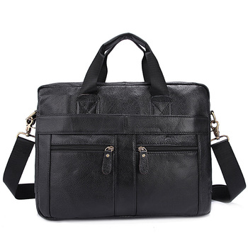 Men Briefcase Genuine Leather Business Men Handbag Totes Laptop Bag Single Shoulder Messenger Bag