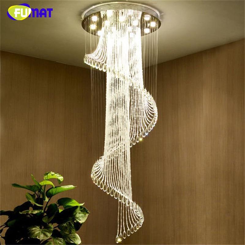 FUMAT Modern K9 LED Spiral Living Room Crystal Chandeliers Lighting Lustre for Staircase Stair Bedroom Hotel