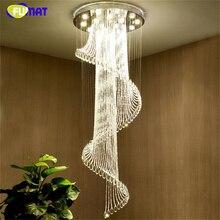 FUMAT nowoczesne żyrandole oświetlenie K9 Crystal LED Hanglamp spirala salon Lustre schody sypialnia Hall żyrandol