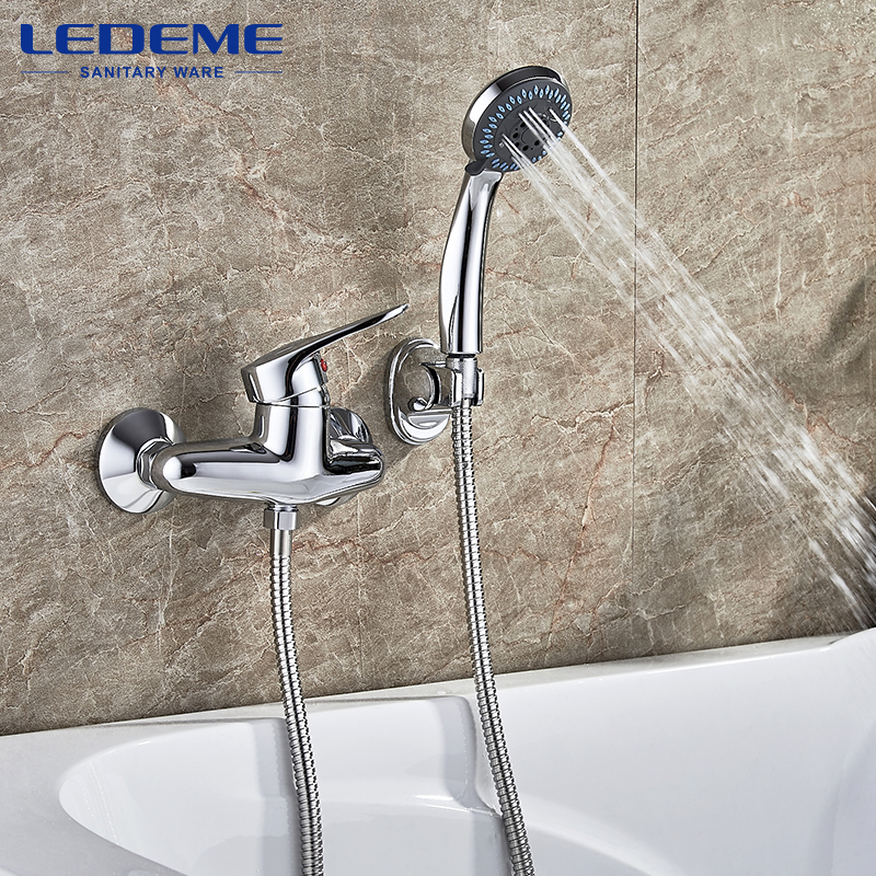LEDEME Long Spout Wall Mounted Bathroom Shower Faucet Bath Faucet Mixer Tap With Hand Shower Head Shower Faucets Set L2004 gappo classic chrome bathroom shower faucet bath faucet mixer tap with hand shower head set wall mounted g3260