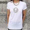 2017 лето женщины повседневная белый хлопок забавный короткий рукав рубашка emoji улыбающееся лицо o шеи большой размер мужская футболка топы