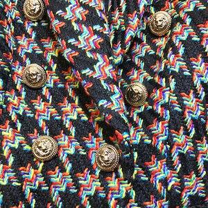 Image 5 - Chaqueta de diseñador para mujer, Chaqueta corta con botones de Metal de León y pata de gallo, 2020
