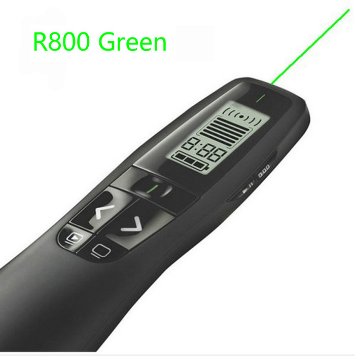 <font><b>Logitech</b></font> <font><b>R800</b></font> Presenter Bright 5MW Green Laser Pointer 2.4 GHz Wireless USB Receiver Range UP To 50 Foot Plug-and-play image