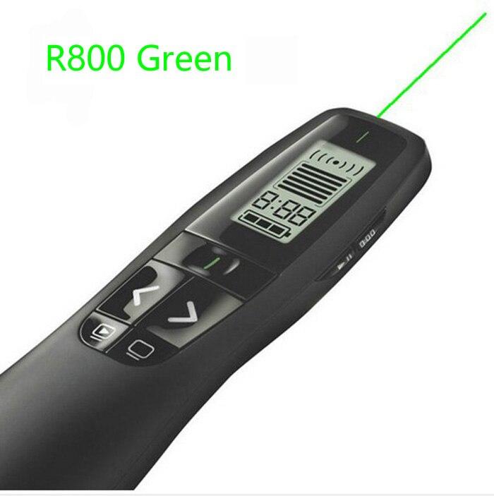 Logitech R800 présentateur lumineux 5 MW vert pointeur Laser 2.4 GHz sans fil récepteur USB portée jusqu'à 50 pieds Plug-and-play