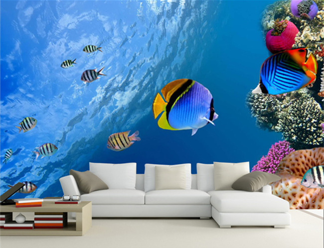 Beibehang Underwater World Fish Tropical Landscape 3d Wallpaper Mural Home Decoration Ocean Wall