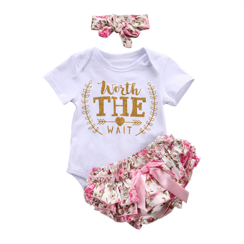 3PCS/Set Cute Newborn Baby Girl Clothes 2017 Worth The Wait Baby Jumpsuit Romper+Ruffles Floral Skirted Shorts Headband Outfits 2016 summer baby child girls outfits ruffles shorts white striped watermelon boutique ruffles clothes kids matching headband set