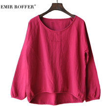 EMIR ROFFER Fashion Spring 2018 White Women Shirts Long Sleeve Tshirts Cotton Linen Causal Summer Top Clothing Big Size