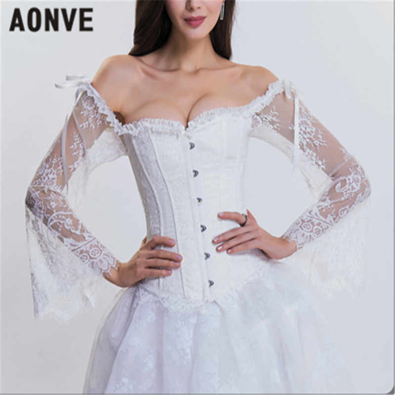 22c0c6ee0e39b4 AONVE Women Steampunk Corset Gothic Bustiers Long Sleeves Off Shoulder Sexy  Corsets For Wedding Cosplay Show