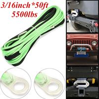 Green 3 16Inch 50ft ATV UTV Winch Line Synthetic Winch Rope Cable With Thimble 5mm 15m
