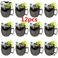 12 Pieces Moscow Mule Drinking Mug Glass Hammered Gunmetal Black Bar Cup Mugs