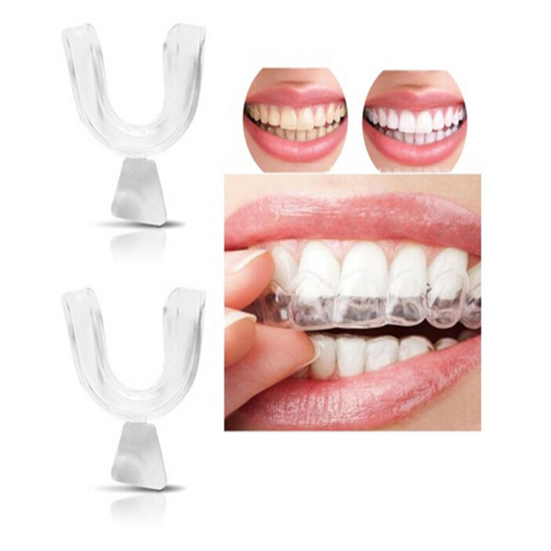 2Pcs New Dental Whitening Denture Silicone Mouth Guard for Teeth Whitening Sleep Aid Whitening Gel Teeth Mouth EVA tray Gel Kit