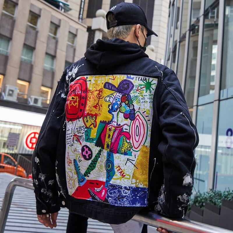 Streetwear Graffiti Jeans veste hommes 2019 printemps nouveau Hip Hop impression hommes Denim veste déchiré Patchwork mâle pardessus