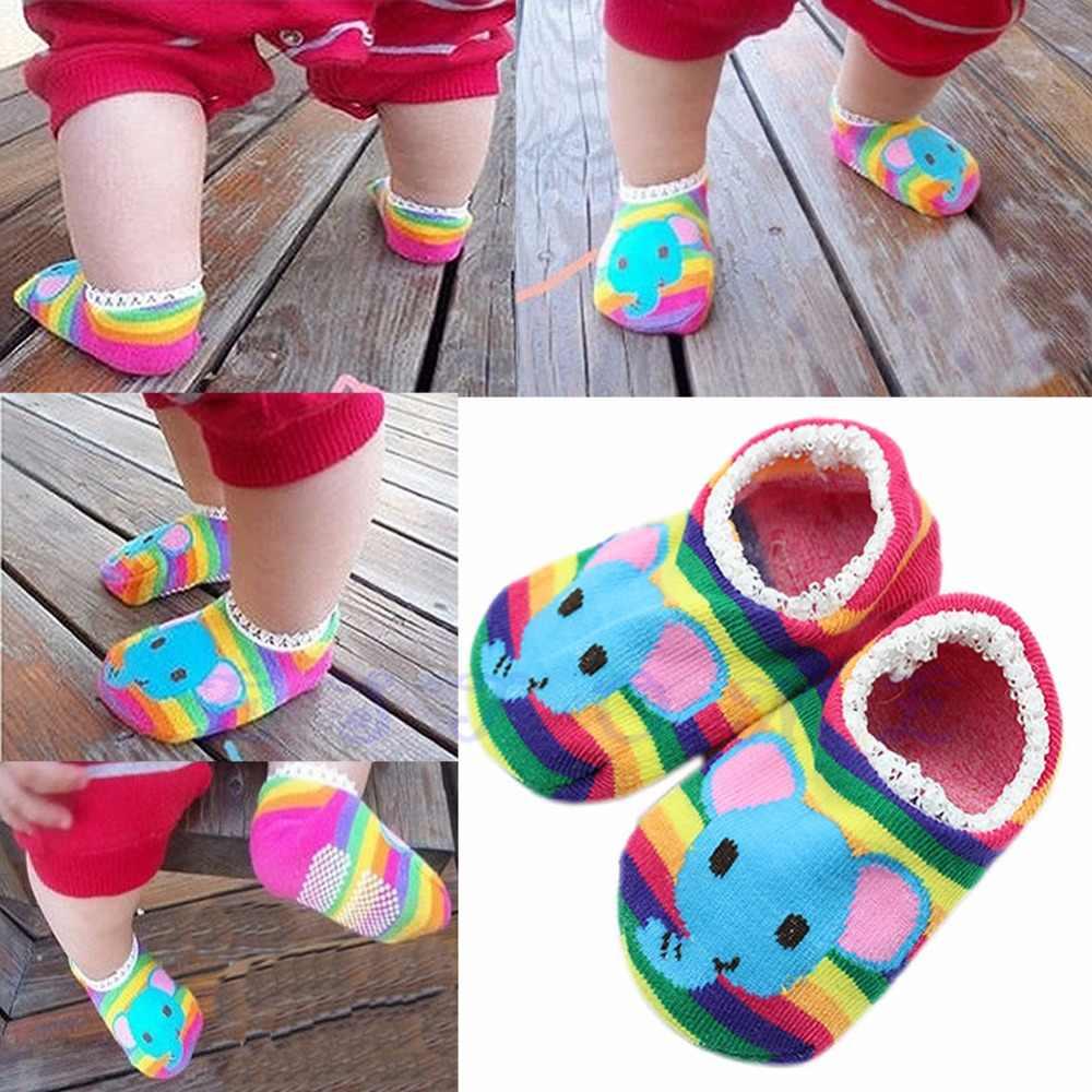 Lindos niños bebé unisex niño niña niño antideslizante calcetines zapatillas 6-24 meses