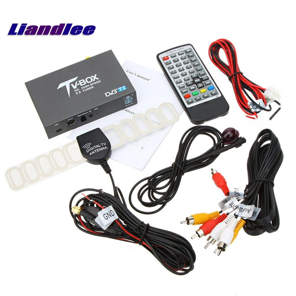 Liandlee DVB-T2 Car Digital TV Receiver Host DVB-T2 Mobile HD TV Turner Box Antenna RCA HDMI High Speed / Model DVB-T2-T337 wekeao box dvb t2 atsc isdb t dvb tmpeg 4 tuner dual antenna car hd digital tv turner receiver auto tv high speed two chip