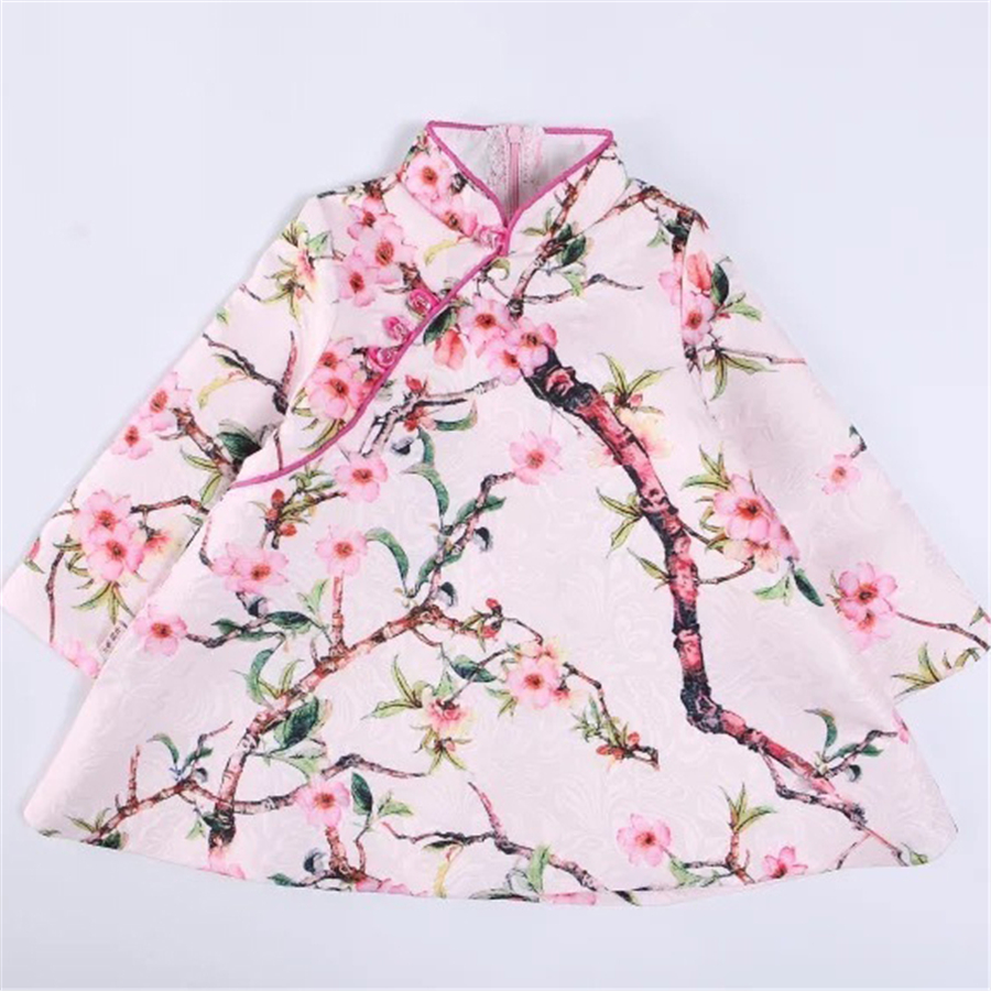 Girls Dresses For Party And Wedding Long Sleeves Dress Girl Style Warm Cheongsam Princess Party  Tang Suit 70C1009