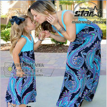 New 2017 Sleeveless Mother Daughter Dresse Family Matching Clothes Flower Print Mom and Girls Dress Family Look Summer Outfits