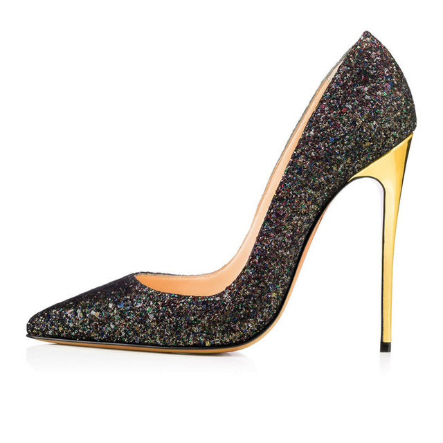 b015ccd5c6f Hosteven Women s Shoes Black Bling Pumps Spring Fashion Pointed Toe High  Thin Heels Stilettos Slip On Party Shoe Plus Size 34-46