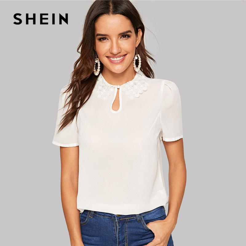 SHEIN Elegant Keyhole Front Lace Collar Top Round Neck Puff Sleeve Women Blouses Summer Workwear Office Lady Solid Blouse