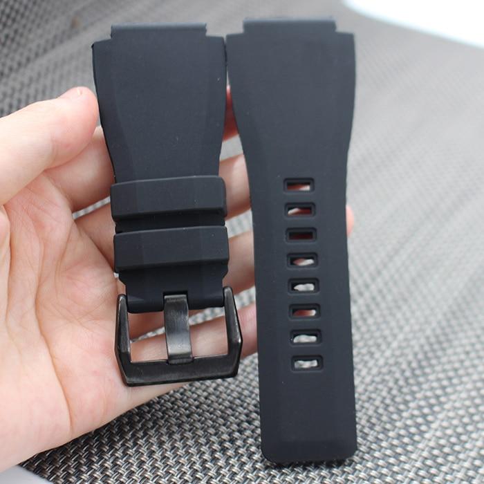 34 * 24mm Mens Waterproof Diving Rubber Watch Strap Silicone Watchbands For Bell Bracelet Ross Belt BR01 BR02 BR03