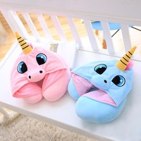 U Shape With Hat Pillow Cartoon Unicorn Support Neck Pillow Office Airplane New Neck Cushion For