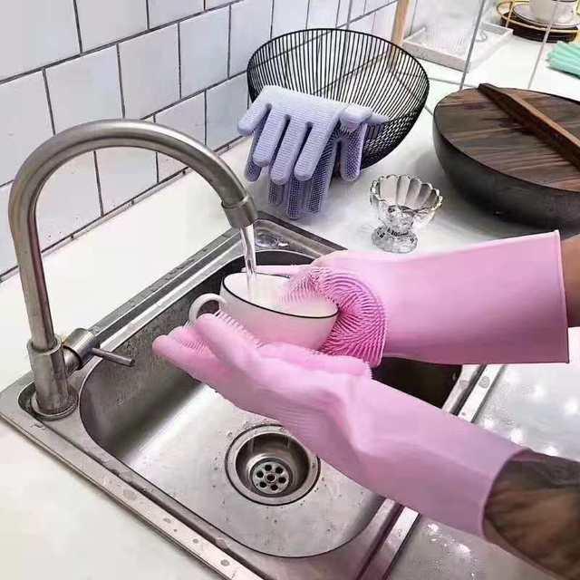 UNA Coppia Magia Del Silicone Scrubber Pulizia Guanti di Gomma Spolverare | Piat