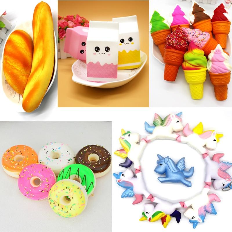 Unicorn Squishy Squeeze Toy Milk Box Bread Banana Ice Cream Jumbo Simulate Pendant Slow Rising Squishy Stress Stretch Kids Gift