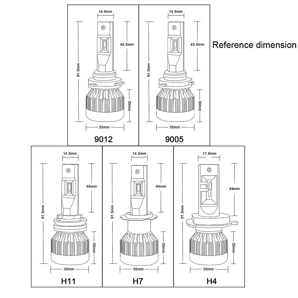 DarkAway высокое Мощность 9006 HB4 светодиодный лампа 55W 16000Lm HB3 9005 H1 H4 H7 H8 H11 фары лампы Автомобильные фары комплект белого цвета - 6