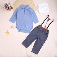 Newborn Baby Clothes Gentleman Baby Boy Pink Blue Plaid Shirt Overalls Fashion Baby Boy Clothes Overalls