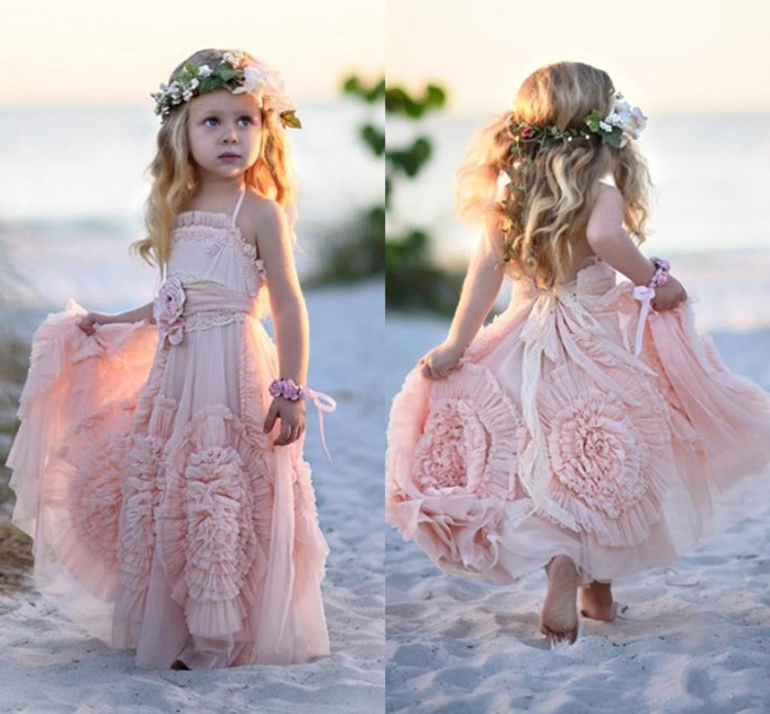 2019 Pink Bohemian Flower Girls Dresses For Weddings Kids First Birthday Dress Lace Ruffled Christmas Party Gown Custom Made ruffled lace blouse