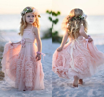 2019 Pink Bohemian Flower Girls Dresses For Weddings Kids First Birthday Dress Lace Ruffled Christmas Party Gown Custom Made