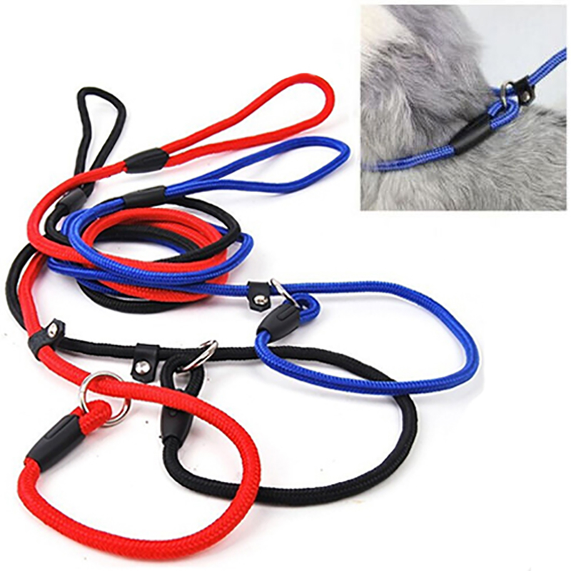 Pet Dog Nylon Rope Training Leash Slip Lead Strap Adjustable Traction Collar 4WLK slip lead keten nylon hond touw training ...